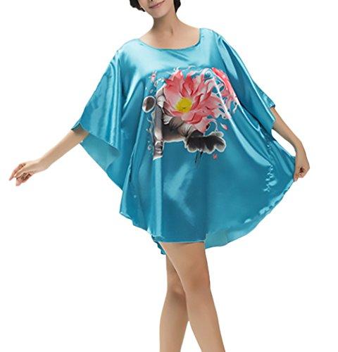 Alessioy Pyjama Damen Loose Plus Size Kurzarm Bedruckte Bikini Cover Up Strandkleid Mädchen Elegant Young Fashion Kurzes Morgenmantel Frühling Sommer Nachtwäsche