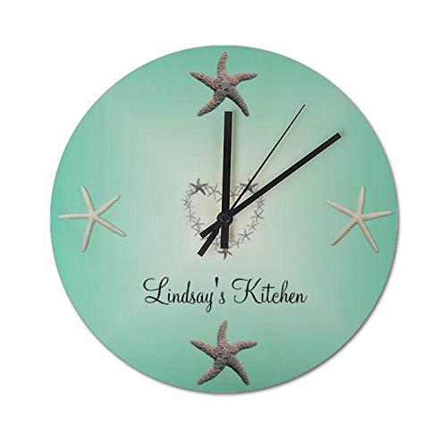 Reloj de pared silencioso de 25 x 25 cm, diseño de estrella de mar, color aguamarina