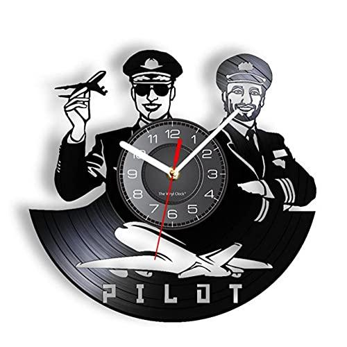 LWXJK Asistente de Vuelo Reloj de Pared con Registro de Vinilo Piloto Decoración del hogar Aviador Masculino Obra de Arte Pioneer Reloj de Larga duración Vintage Regalo de la tripulación de Cabina