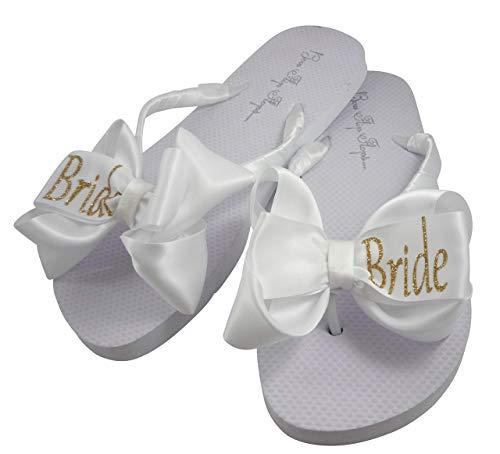 Gold Bride Glitter Bling Bow Flip Flops for the Wedding