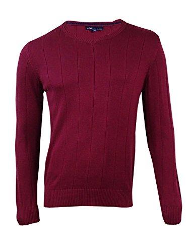 John Ashford Men's Red Striped-Texture Ribbed Trim V-Neck Sweater L BHFO 5168
