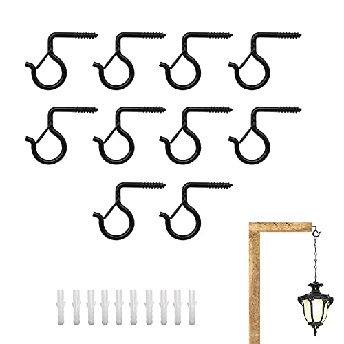 LERANXIN 10 ganchos para colgar luces, ganchos negros para tazas, ganchos galvanizados de 90 ° para luces de Navidad, ganchos de luz adecuados para colgar ropa, luces, decoraciones