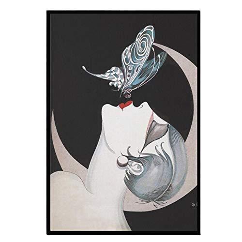 Francés Art Deco Flapper Mujer Beso Impresiones en lienzo Pintura sobre lienzo Carteles Impresiones Decoración para el hogar Dormitorio Impresión en lienzo-50x70cm Sin marco