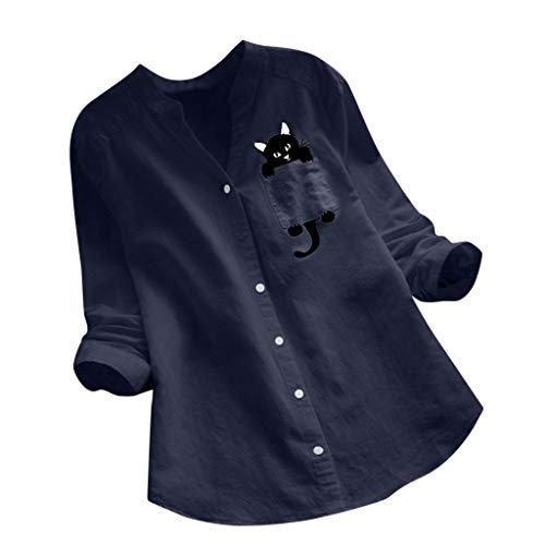 リネンシャツ レディース トップス シャツ Caopw ブラウス Tシャツ 長袖 半袖 レディース 猫柄 涼しい プリント 大きいサイズ チュニック おしゃれ 女性 カットソー ゆったり プルオーバー カジュアル 日常 部屋着 オフィス 上着