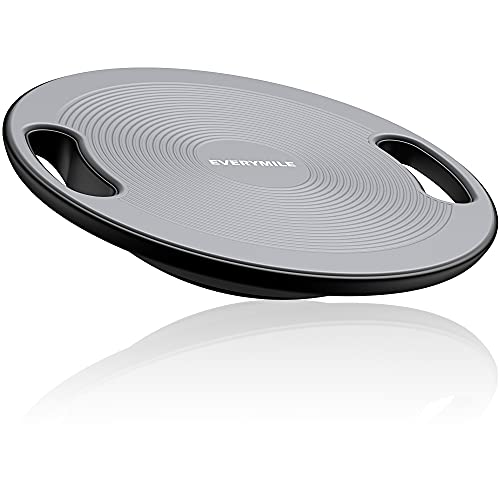"""EveryMile Wobble Balance Board, Exercise Balance Stability Trainer Portable Balance Board with Handle for Workout Core Trainer Physical Therapy Gym 15.7"""" Diameter No-Skid Surface"""