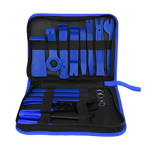 EBTOOLS 19pcs kit d'outils de dépose de panneau de voiture, outil stéréo universel Spry Radio, pince de fixation clip pince porte panneau kit d'outils de suppression de tableau de bord(Bleu)