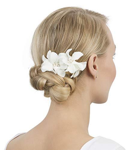 SIX Haarspange mit Lilie im 2er-Set [Damen Haarschmuck] - Haarclips » Haar Clips « Frauen Schmuck im Blumen Design - Haarklammer - Haarnadeln - Klammer - Haarspange - weiß (488-698)