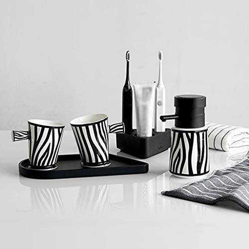 xiaokeai Soap Bottles 5-Pc Black and White Striped Ceramics Bathroom Set with Soap Dispenser, Toothbrush Holder, Tumbler, Tray Lotion dispensers