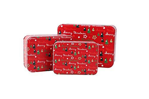 Christmas Cookie Tins Set of 3 - Decorative Cookie Gift Tins Extra Thick Metal - Large Medium and Small Sizes rec red