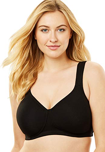 Comfort Choice Women's Plus Size Cotton Wireless T-Shirt Bra - 38 D, Black