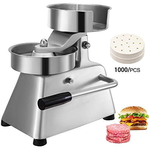 VBENLEM Kommerzieller Hamburger-Patty-Maker, 100 mm, Edelstahl, Burgerpresse, robust, Rindfleisch, mit 1000 Blättern, silberfarben