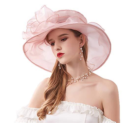Derby Eglise Robe Organza Royal Ascot Party Mariage Britannique Chapeau De Soleil Chapeau De Plage,Pink