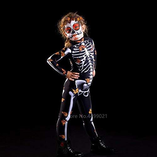 T-YIFUZX Cráneo Femenino Disfraz de Halloween niño bebé niña Mariposa Fantasma Mono Fiesta Carnaval espectáculo de Terror Demonio día de los Muertos