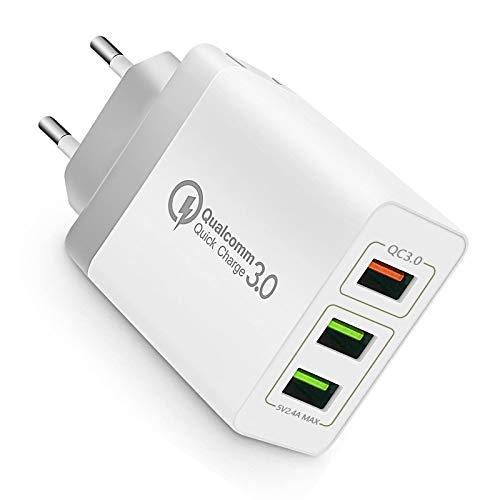 3Puertos QC3.0 USB Cargador rápido Cargador Movil Universal Adaptador, 30W QC3.02.0 Smart Alimentador USB Adaptador de Alimentación para Samsung iPhone iPad Huawei Google y más