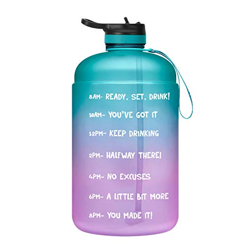 ZIRAN Botella de Agua con Marcador de Tiempo y Pajita Botella de Agua Reutilizable para Deportes al Aire Libre Botella de plástico para Beber