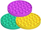 VANREYIN Bubble Sensory Fidget Toy,Autism Special Needs Stress Reliever Silicone Stress Reliever Toy,Squeeze Sensory Toy(Purple+Green+Yellow) (Circularity)…