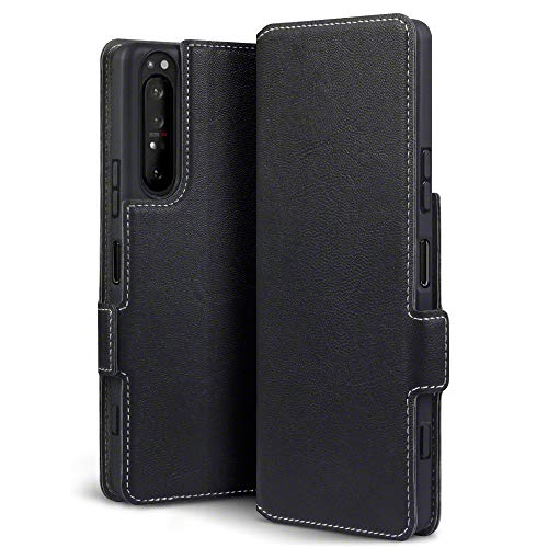 TERRAPIN, Kompatibel mit Sony Xperia 1 II Hülle, Premium Leder Flip Handyhülle Sony Xperia 1 II Tasche Schutzhülle, Schwarz