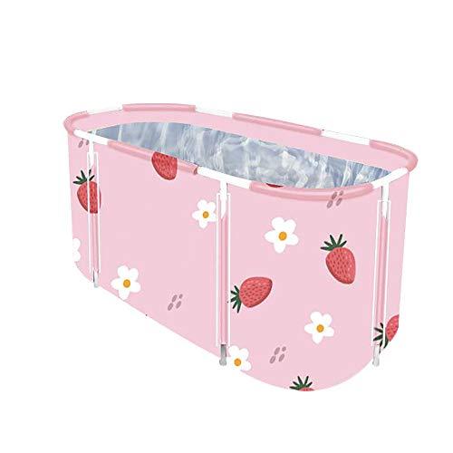 Foldable Bathtub Portable Soaking Bath Tub,Eco-Friendly Bathing Tub for Shower Stall,Thickening with Thermal Foam to Keep Temperature (XL Strawberry)