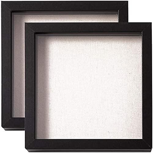 Muzilife 3D Bilderrahmen zum Befüllen 20x20cm Tiefe Box Objektrahmen mit Glasscheibe 2 Stück Schwarz