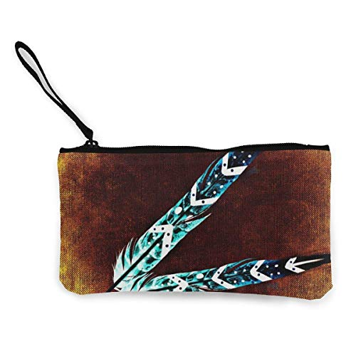 SDFGJ Feather Pen Women and Girls Cute Fashion Canvas Coin Purse Change Coin Bag Zipper Small Purse Wallets for Keychain Money Travel Pouches
