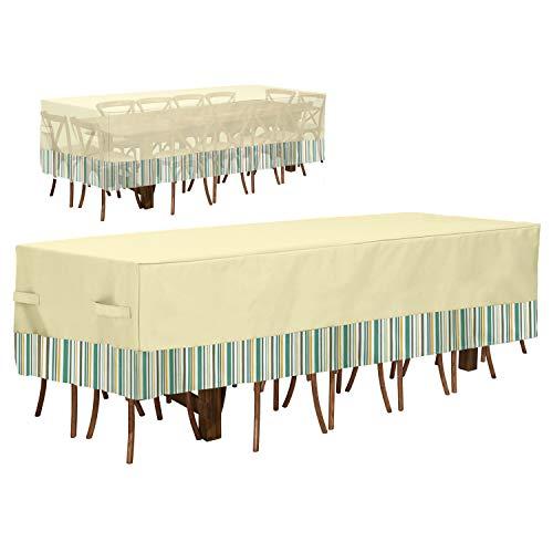 GYHH Funda para Muebles De Jardín Impermeable,600D Veranda Rectangular Patio Table & Chair Set Cover-Protector Solar Y Cubierta A Prueba De Polvo (122×71×33cm,Beige Stripes)