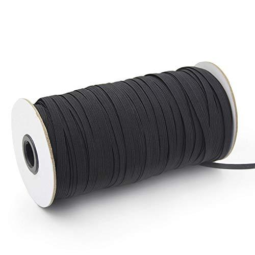100Yards Length 1/4 Inch Elastic String Cord Heavy Stretch High Elasticity Knit Elastic Band for Sewing Craft DIY 6mm (Black)