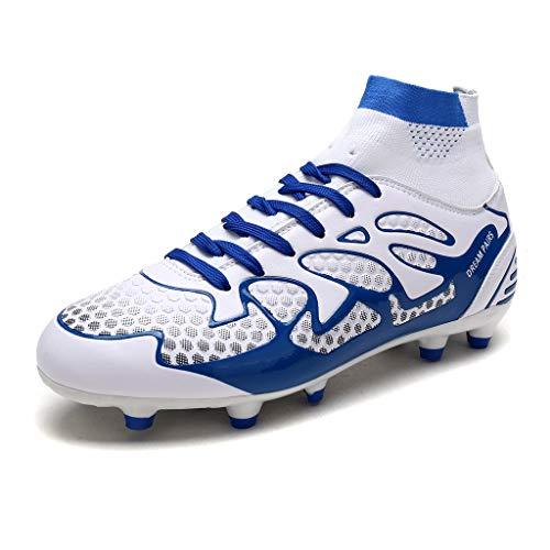 DREAM PAIRS 160858-M Botas de Fútbol para Hombre Blanco Azul 42 EU/9 US