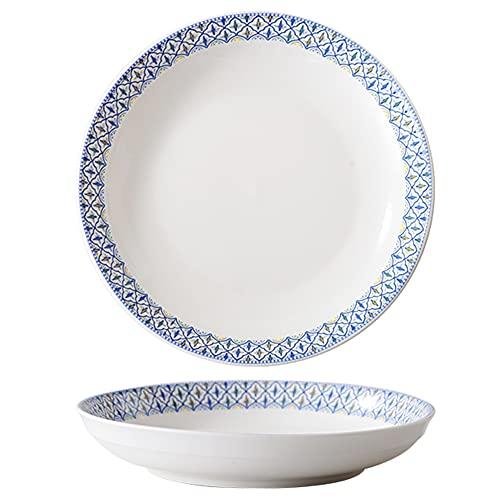 ELLENS Plato de cerámica de cerámica nórdica, Plato de Porcelana para Servir Pastel de Postre de Ensalada de Frutas, Estilo Bohemio (21 cm / 8 Pulgadas)