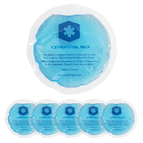 "ICEWRAPS 4"" Round Reusable Gel Ice Packs Without Cloth Backing - Hot Cold Pack for Kids Injuries, Breastfeeding, Wisdom Teeth, First Aid - 5 Pack"