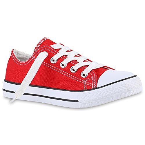 stiefelparadies Kinder Sportschuhe Sneakers Turnschuhe Schnürschuhe 139988 Rot Rot 36 Flandell