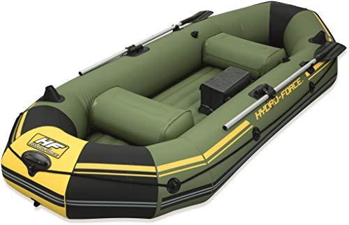Bestway 65044 - Barca Hinchable Neumática Bestway Hydro-Force Marine Pro - Capacidad hasta 270 Kg, - Con 2 remos de aluminio, enganches soporte de motor, e inflador