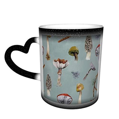 Taza de café de cerámica con diseño de bosque de setas que cambia de color, sensible al calor, ideal para los amantes de la familia, amigos