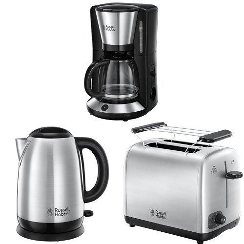 Russell Hobbs Frühstücksset Adventure Glas-Kaffeemaschine + Wasserkocher + Toaster