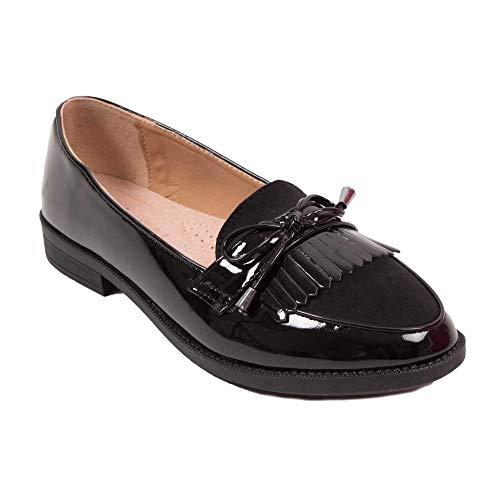 Mokassins Damen Lack schwarz oder grau mit Fransen Spitze Kunstleder, Schwarz - Schwarz - Größe: 36 EU