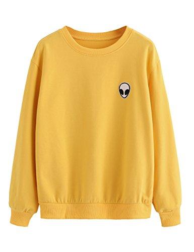 SweatyRocks Sweatshirt Women Pink Alien Patch Drop Shoulder Long Sleeve Shirt (X-Large, Gold)