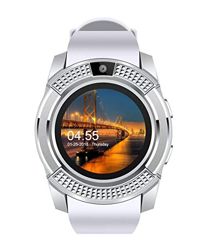 generic Smart Watch with SIM Card Support Compatible with All Mobile Phones for Boys and Girls -White