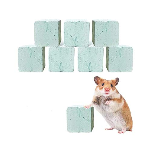 Rat Lava Block Chew Toy,Chinchilla Bites Calcium Cubes Stone for Grinding Teeth,Hamsters Supplies,Mineral Pumice Chewing Toys for Small Animal Gerbil Guinea Pig Mice Mouse 8Pcs Blue