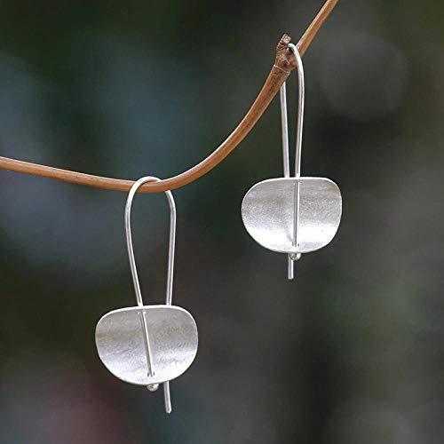 Erin Earring Clásico Trozo De Metal, Papel De Aluminio, Plata Brillante, Lindos Pendientes Colgantes, Simples Pendientes De Hoja De Moda Z3D277