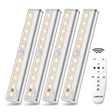 Remote Control Cabinet Light 4PACK, LDOPTO Dimmable 10-LED Wireless Under Counter Lighting, Battery Operated Closet Light, Stick-on Touch Sensor Night Light, 2 Control Methods (Remote/Touch Control)