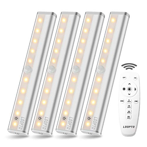 LDOPTO Remote Control Kitchen Under Cabinet Lighting, Dimmable LED Under Counter Lights,Battery Powered 10 LED Dimmable Wardrobe Lights with Remote Control, Warm White 3000K, 4 Pack