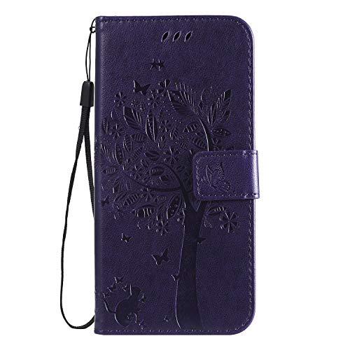 LODROC LG G8 ThinQ Hülle, TPU Lederhülle Magnetische Schutzhülle [Kartenfach] [Standfunktion], Stoßfeste Tasche Kompatibel für LG G8 - LOKT0101386 Violett