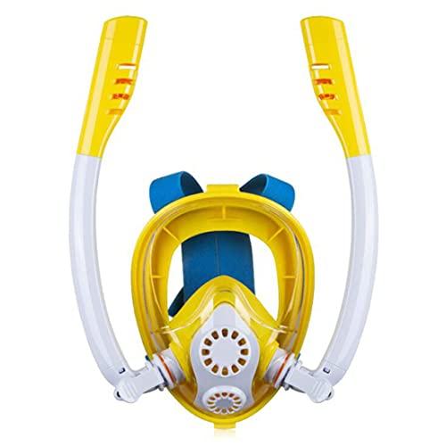 xiaotianshi Máscara de Snorkel de Snorkel Completo para niños, niños Doble Tubo Silicona Máscara de Buceo Completamente seco 180 Grados Panorama HD Seaview Mask Mascarilla Gafas de Buceo,Amarillo