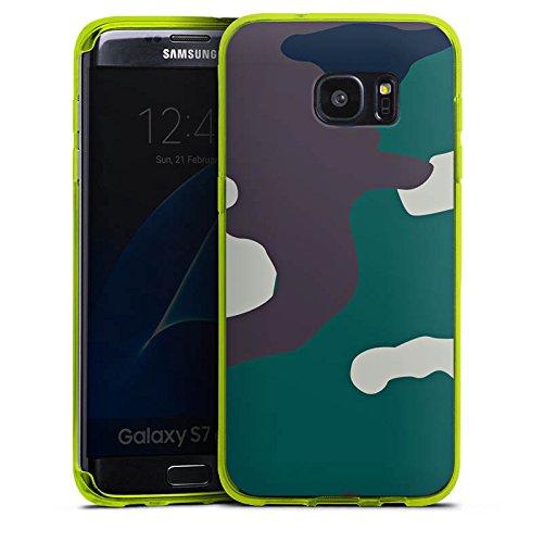 DeinDesign Silikon Hülle transparent neon grün kompatibel mit Samsung Galaxy S7 Edge Case Schutzhülle Camouflage Bundeswehr Tarn Muster