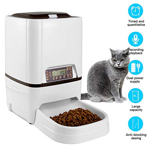LuckinPET 6 L Pet Feeder,Automatic Cat Feeder   Timed Programmable Auto Pet Dog Food Dispenser Feeder for Kitten Puppy - Portion Control Up to 4 Meals/Day,Voice Recording,Battery and Plug-in Power