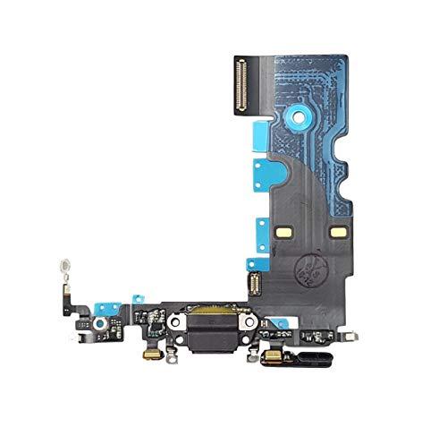 Smartex® Conector de Carga de Repuesto Compatible con iPhone 8 Negro - Dock de repeusto con Cable Flex Antena y Micrófono