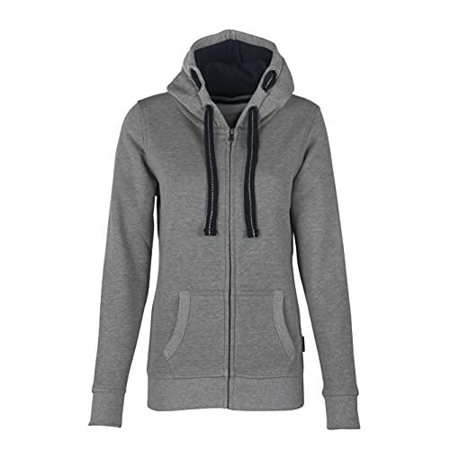 HRM Damen Hooded Jacket, grau-meliert, Gr. L I Premium Kapuzenjacke Damen mit Kontrast-Innenfutter I Basic Hoodie mit Reißverschluss I Zip Hoodie I Hochwertige & nachhaltige Damen-Oberteile