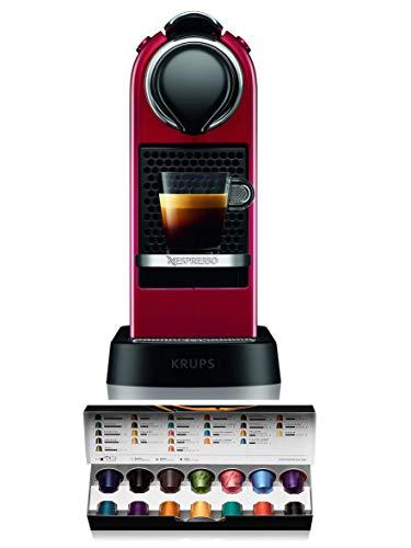Krups Nespresso XN7415 Citiz cafetera de cápsulas monodosis, con 19 bares de presión, thermoblock, función automática con botones retroiluminados, color granate