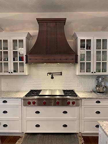 Hammered Solid Copper Range Hood with High Airflow Cenrtifugal Blower, Stainless Steal Vent with Liner and Internal Motor, Baffle Filter,Wall Mount