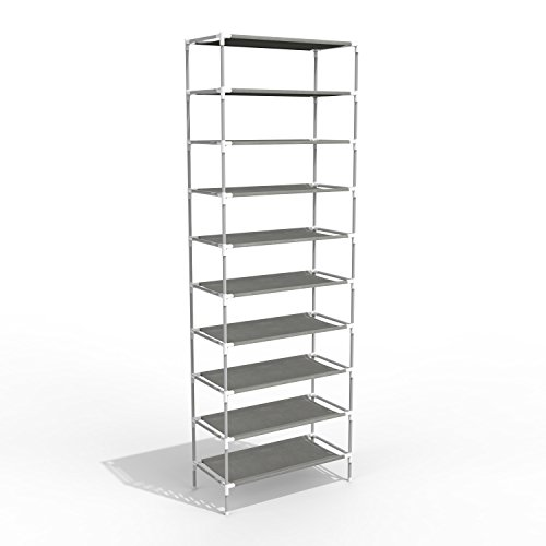 Oanon 10 Tiers Shoe Rack Easy Assembled Non-woven Fabric Shoe Tower Stand Sturdy Shelf Storage Organizer Cabinet