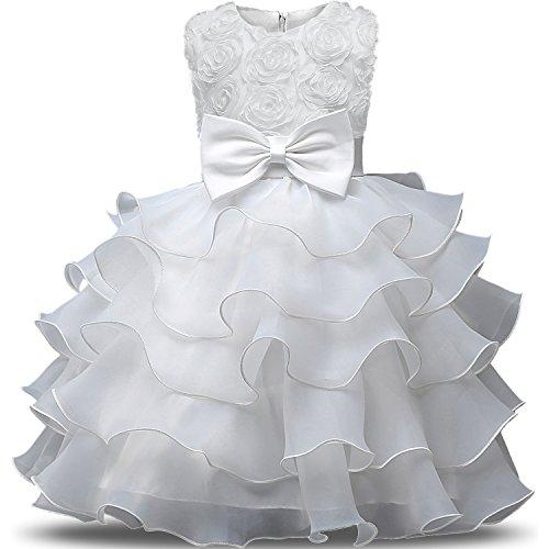 NNJXD Mädchen Kleid Kinder Rüschen Spitze Party Brautkleider Größe(150) 7-8 Jahre Blumen Weiß